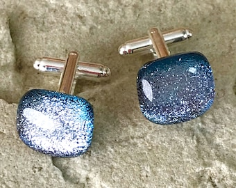 Dichroic Glass Cufflinks on Silver Tone T Bar Fittings - Iridescent Colour Changing Sparkling Silver Through to to Blue - Gift Boxed