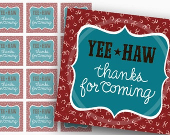 Western gift Tags, Country Thanks Tags, square Favor Tags, Digital Tags, Western Printable Tags, Printable birthday party Tags
