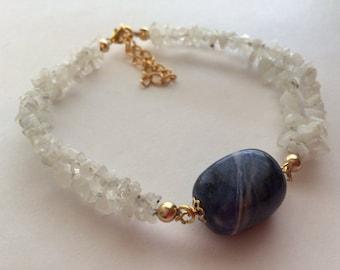 Moonstone Chips and Swirly Blue Stone Bracelet.
