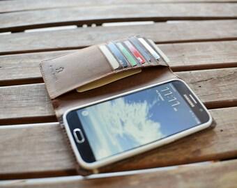Handmade Samsung Galaxy S6 Case Genuine Rustic Real Leather Dark Brown by Ebb Flow