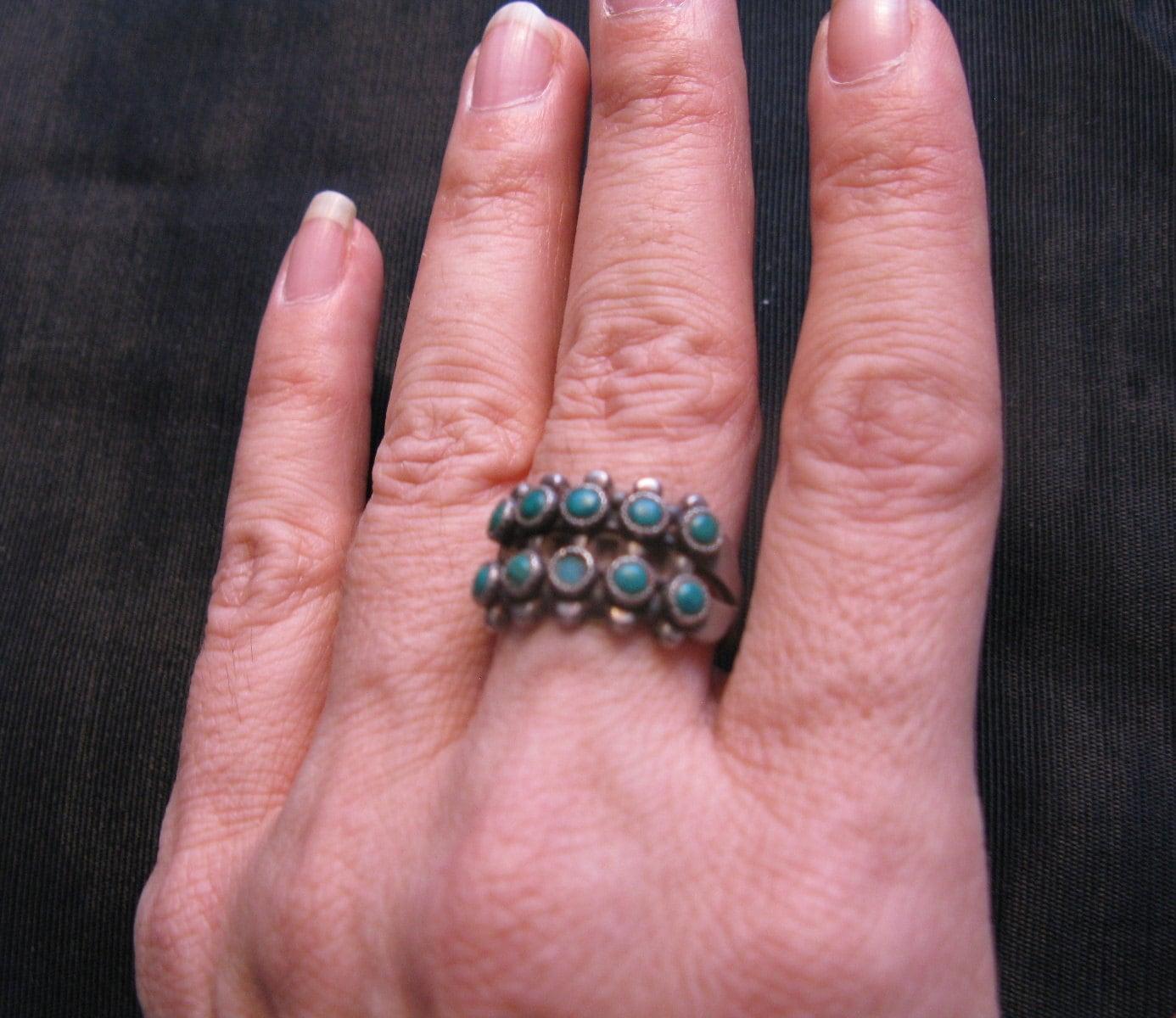 Zuni snake eye ring native american jewelry old turquoise