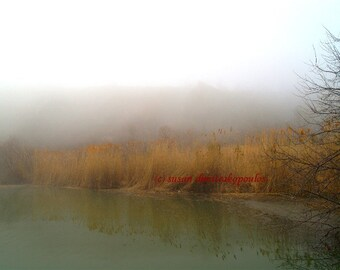 Scenery photograph, Scarborough Bluffs in Fog, Toronto Canada, home office decor, wall art, misty autumn, home office decor, gift 20