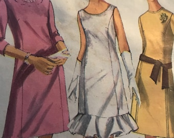 Cute Vintage A-Line Dress Pattern With Optional Ruffled Trim---Simplicity 6492---Size 12 Bust 32