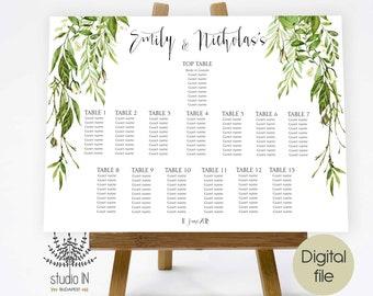 Green Wedding seating chart, foliage seating plan, wedding seating plan, forest wedding seating chart, greenery wedding seating, PRINTABLE