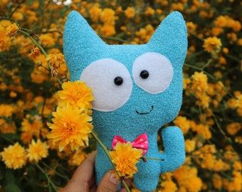 Plush toy cat Personalized plush Nursery decor blue Softie stuffed Soft plush Gift for girl cat toy