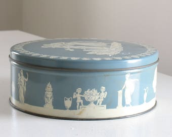 Vintage blue and white wedgewood tin / retro tea and biscuit tin / storage canisters / cookie tin
