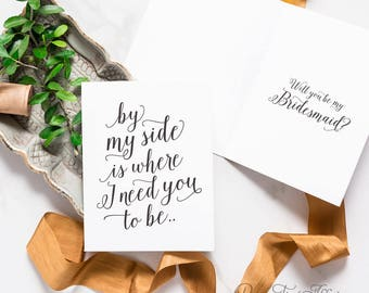 Will You Be My Bridesmaid Card Set - Bridesmaid Proposal, Maid of Honor, By My Side, Ask Bridesmaid, Flower Girl | Charlotte, Need You To Be