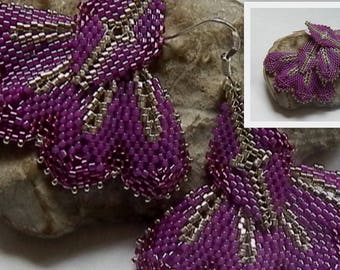 Purple and silver weave earrings