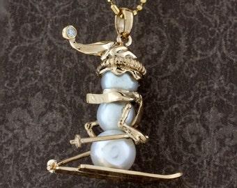 Pearl Skiing Snowman Pendant