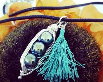 Three Peas in a Pod - wire wrap necklace - green tassel