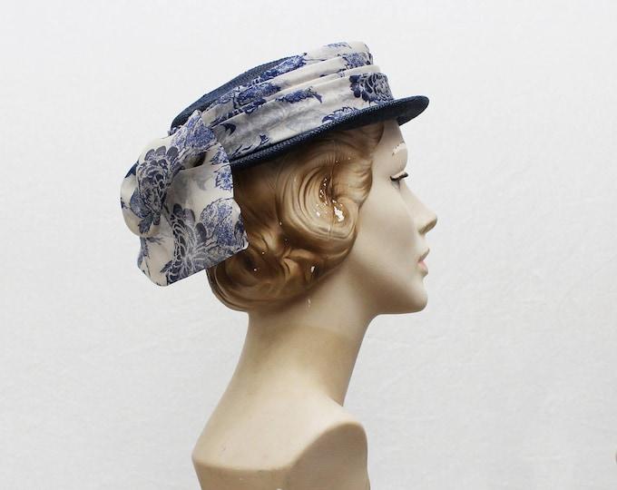 Blue Floral Boater Hat - Vintage 1950s Blue Women's Hat