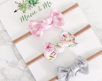 Pink Gingham, Pink Floral, & Grey/ Toddler Bows / Hair Clip / Nylon Headband / Tied Bows / Macie and Me