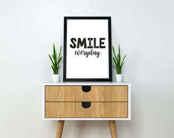 Smile everyday print, black and white print, nursery wall art print, instant download, monochrome print, minimalist wall art, nursery decor