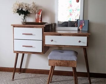Mid Century Modern Makeup and Vanity Table