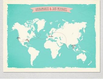 World Map with 3 - 4 locations Custom Wedding Print Destination Wedding Gift Couple print alternative Signature Guest Books Signature Map