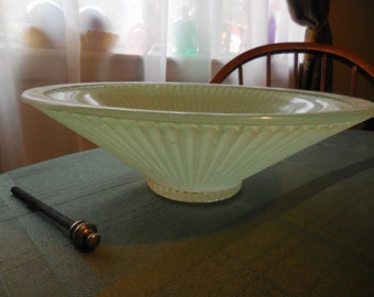Vintage Semi Flush Light Green Frosted Glass Ceiling Shade Fixture 1930s to 1940s Art Deco Round Screw On Simple
