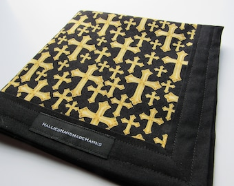 Cross Fabric EDC Hank Gold and Black Cross Fabric Handmade Hank Everyday Carry Pocket Dump Hank Mens Handkerchief Gift for Him Gift for Her