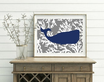 Moby Whale Art Print, Coastal Wall Decor, Whale Print, Beachhouse, Coral Print, Turquoise