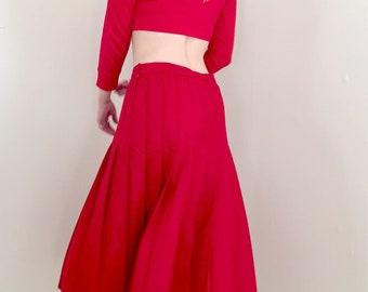 Red Pleated Pendleton Midi Skirt