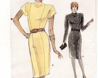Leicht tailliert, erhabene Prinzessin Naht, Ausschnitt, lange/kurze Ärmel gerade Kleid Schnittmuster für Frauen: ungeschnitten-Größen 14.12.16 • Vogue 7114
