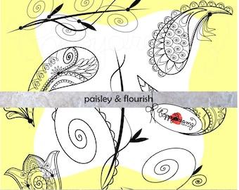 Paisley & Flourish: Digital Clip Art Pack (300 dpi) (transparent png files) Wedding Card Making Labels Frames Digital Scrapbook