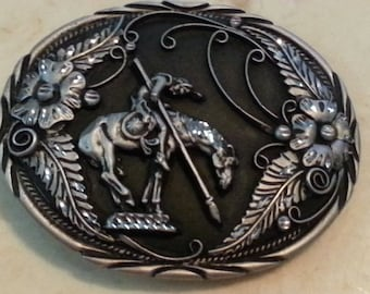 Vintage Belt Buckle Native American On Horse Detailed Black Background Flowers Made in the USA 1990s End of the Trail