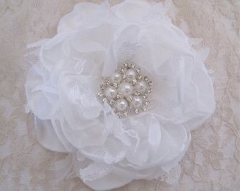 Winter White Satin Chiffon and Lace Bridal Flower Hair Clip Bridal Accessories Bride Bridesmaid Prom with Pearl and Rhinestone Accent