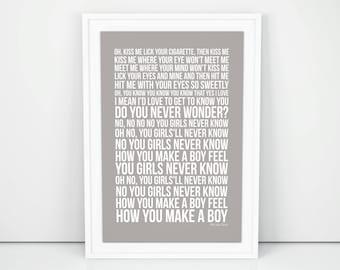 Franz Ferdinand Poster No You Girls Lyrics song Print A4 A3 Size  Wall Artwork