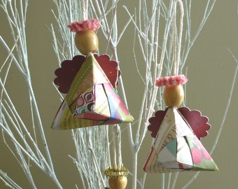 Origami Angel Ornament, Set of 2, Gift Adornment, Guest Favor, Hostess Gift