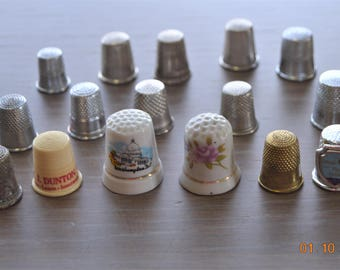 15 Vintage Thimbles 50's - 70's,size 6 ,7, 8 , 9, 10,Spain,Tourist South Padre Island,Taiwan Collection Lot,Craft Supplies,use for Sewing