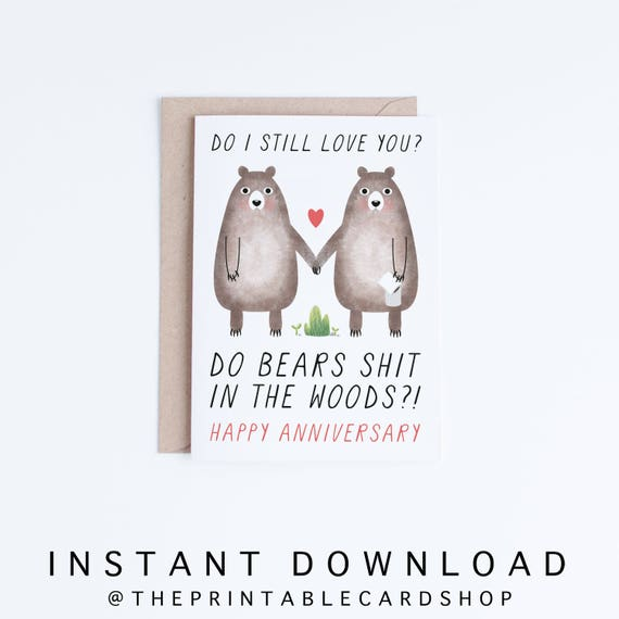 Printable Anniversary Cards Instant Download Funny