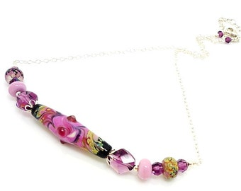 Pink Purple Necklace, Lampwork Necklace, Beaded Necklace, Glass Bead Necklace, Beadwork Necklace, Glass Necklace, Lampwork Jewelry