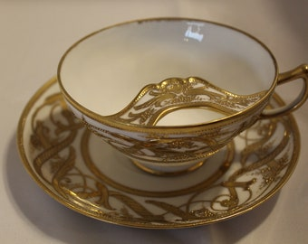 Mustache Tea Cup and Saucer Set Nippon Noritake Hand Painted Gold Antique Rare