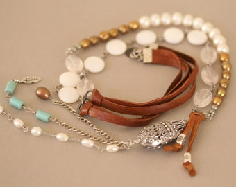 Long Bohemian Necklace, Leather Corded, Gemstone, Dangling Necklace,Turquoise and Brown,Pearl and Quartz, Boho Style