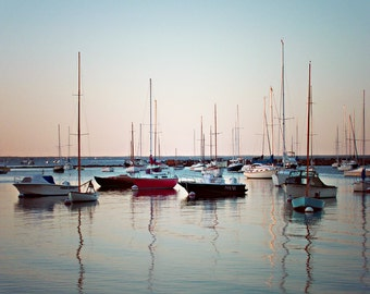 Colorful boats Martha's Vineyard sunset masts water digital photograph home decor gift under 50.00 Cape Cod.
