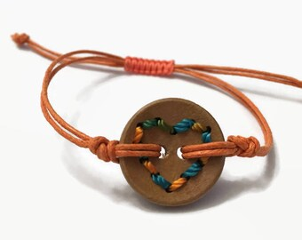 Wood Heart Bracelet | Button Bracelet | Minimalist | Stack | Simple Bracelet | Friendship Bracelet | Dainty Bracelet | BOHO | Gift for Girls