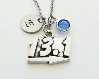 13.1 Necklace, Half Marathon, Runner Jewelry, Athlete Gift, Swarovski Birthstone, Silver Initial, Personalized Monogram, Hand Stamped Letter