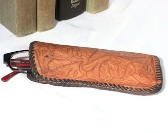 Southwest Style Vintage Tooled Leather Eye Glass Case