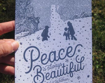 Peace is Always Beautiful Letterpress Holiday Card Pack of 5