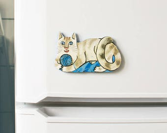 Playing Cat Magnet, cat lovers home decor, handpainted kitchen decor, upcycled, beige and blue refrigerator magnet. ooak