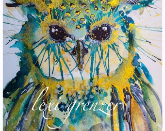 Turquoise Owl - Original Watercolor Painting by Lexi Grenzer