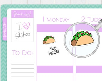 Taco Stickers, Planner Stickers, Taco Tuesday Stickers, Food Stickers, Calendar Stickers, Small Kawaii Stickers, Labels