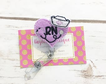 Nurse Badge Reel - Heart Badge Reel - Nurse Name Badge - RN Badge Reel - Nurse Badge Holder - Felt Badge Reel - Nurses Week Gift