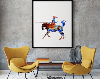 Colorful Knight Art Poster Knight Illustration Home Decor