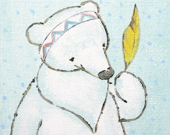 "Poncho and the Magic Feather- Print 12x16"" large print, bear, feather, yellow, indian, chevron"