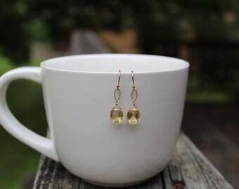 Golden Citrine Earrings, Yellow Citrine Gemstone Earrings, Simple Citrine Earrings, Minimalist Earrings, Dangle, Drop Citrine