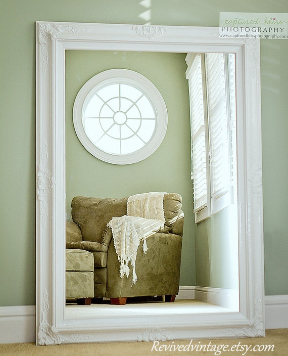 Hollywood regency mirror white for sale vintage inspired extra for Big mirrors for sale