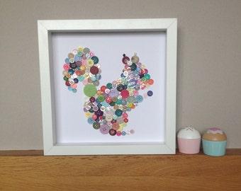 Button Art Squirrel, Nursery Wall Art, Baby's Room, Childs Room, Baby Shower, Framed Animal Art, Colourful Art, Woodland Animal, Childs Room