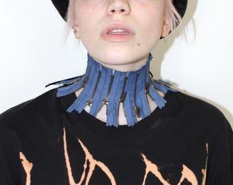 Pretty Disturbia hand made zips funky chunky choker necklace steam punk grunge alternative blue gold