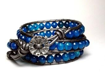 Blue Agate Leather Wrap Bracelet